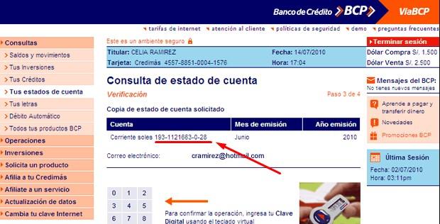 Cómo saber mi numero de cuenta BCP